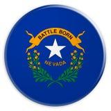Bottone dello stato USA: Illustrazione di Nevada Flag Badge 3d su fondo bianco illustrazione di stock