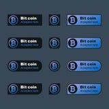Bottone di Bitcoin nell'interfaccia grafica virtuale Immagine di vettore illustrazione di stock