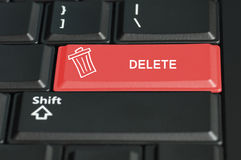 Bottone di cancellazione su una tastiera Fotografie Stock