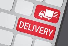 Bottone di consegna sul corriere veloce Service Express Truck Logo Icon della tastiera del computer portatile Immagini Stock Libere da Diritti