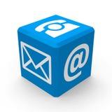 Bottone di contatto blu Fotografia Stock Libera da Diritti