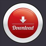 Bottone di download. Autoadesivo rotondo rosso di vettore. Fotografie Stock