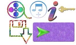 Bottone di download di chiave di informazioni di musica di film con fondo bianco Immagini Stock