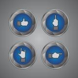 Bottone di gesto di mano del pixel Fotografia Stock Libera da Diritti