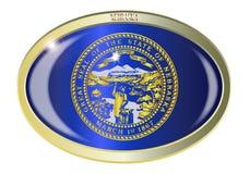 Bottone di ovale della bandiera dello stato del Nebraska Immagine Stock