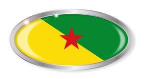 Bottone di ovale della bandiera di Guiana francese Fotografia Stock