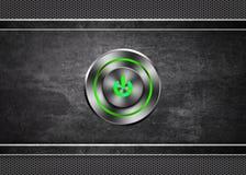 Bottone di potenza sul fondo di struttura del metallo Fotografia Stock