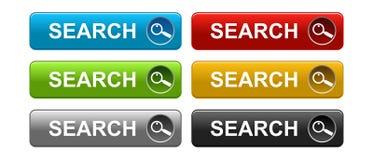Bottone di ricerca variopinto su bianco Immagini Stock Libere da Diritti