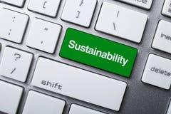 Bottone di sostenibilità sulla tastiera Immagini Stock Libere da Diritti