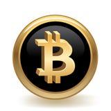 Bottone di valuta di Bitcoin Fotografia Stock Libera da Diritti