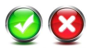 Bottone di vetro di RRound - convalida e fermata Fotografia Stock Libera da Diritti