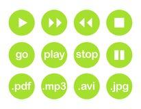 Bottone di vettore del gioco o insieme verde dell'icona Fotografia Stock