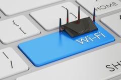 Bottone di Wi-Fi sulla tastiera royalty illustrazione gratis