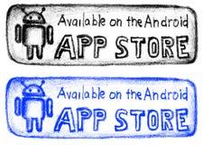 Bottone disegnato a mano del deposito di app Fotografia Stock Libera da Diritti