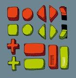 Bottone disegnato a mano del Internet messo (colore) Fotografie Stock Libere da Diritti
