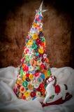 Bottone fatto a mano e Pin Christmas Tree immagine stock libera da diritti