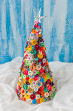 Bottone fatto a mano e Pin Christmas Tree Fotografie Stock