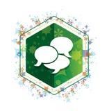 Bottone floreale di esagono di verde del modello delle piante dell'icona di conversazione royalty illustrazione gratis