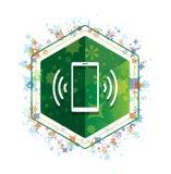 Bottone floreale di esagono di verde del modello delle piante dell'icona del segnale della rete di Smartphone illustrazione vettoriale