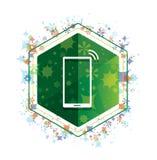Bottone floreale di esagono di verde del modello delle piante dell'icona del segnale della rete di Smartphone royalty illustrazione gratis