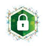 Bottone floreale di esagono di verde del modello delle piante dell'icona vicina del lucchetto illustrazione vettoriale