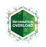 Bottone floreale di esagono di verde del modello delle piante di sovraccarico di informazioni illustrazione di stock
