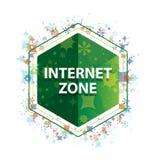 Bottone floreale di esagono di verde del modello delle piante di zona di Internet fotografia stock libera da diritti