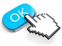 Bottone GIUSTO blu Fotografie Stock Libere da Diritti