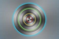 Bottone inossidabile del cerchio Fotografie Stock Libere da Diritti