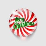 Bottone lucido con il Buon Natale del testo e di spirale Fotografie Stock