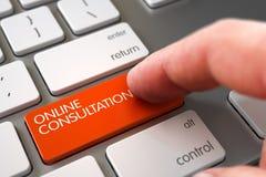 Bottone online commovente di consultazione della mano 3d Immagini Stock Libere da Diritti