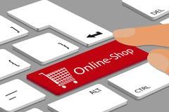 Bottone online del carretto e del negozio sulla tastiera con il dito - illustrazione di vettore illustrazione di stock