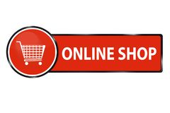 Bottone online di web del negozio con il carrello illustrazione di stock