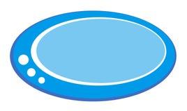 Bottone ovale blu con le decorazioni bianche Fotografie Stock Libere da Diritti