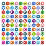 Bottone piano di web di esagono dell'icona della freccia Fotografie Stock Libere da Diritti