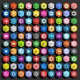 Bottone piano di web di esagono dell'icona della freccia Immagini Stock Libere da Diritti