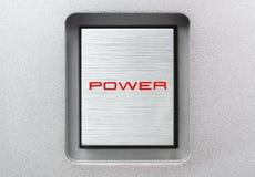 Bottone quadrato di potere del metallo Fotografia Stock Libera da Diritti