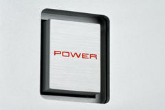 Bottone quadrato di potere del metallo Fotografie Stock Libere da Diritti