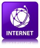 Bottone quadrato porpora di Internet (icona della rete globale) royalty illustrazione gratis