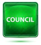 Bottone quadrato verde chiaro al neon del Consiglio illustrazione vettoriale