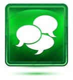 Bottone quadrato verde chiaro al neon dell'icona di conversazione illustrazione di stock
