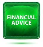 Bottone quadrato verde chiaro al neon di consiglio finanziario illustrazione vettoriale