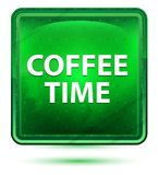 Bottone quadrato verde chiaro al neon di tempo del caffè illustrazione vettoriale