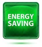 Bottone quadrato verde chiaro al neon economizzatore d'energia illustrazione di stock