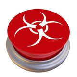 Bottone rosso con il simbolo di rischio biologico illustrazione di stock