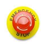 Bottone rosso dell'arresto di emergenza Fotografia Stock Libera da Diritti