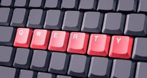 Bottone rosso di qwerty sulla tastiera Fotografia Stock