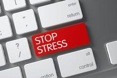 Bottone rosso di sforzo di arresto sulla tastiera 3d Fotografia Stock Libera da Diritti