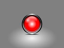 Bottone rosso su fondo grigio Immagini Stock Libere da Diritti