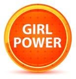 Bottone rotondo arancio naturale di potere della ragazza illustrazione di stock